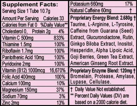 VivaLift - Citrus, nutritional information